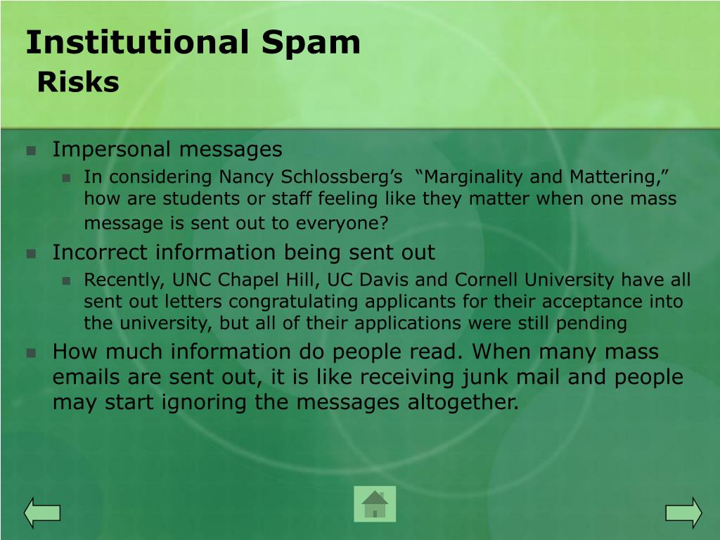 Institutional Spam