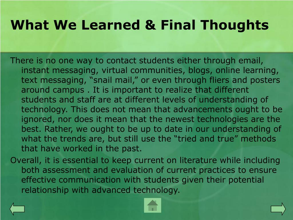 What We Learned & Final Thoughts