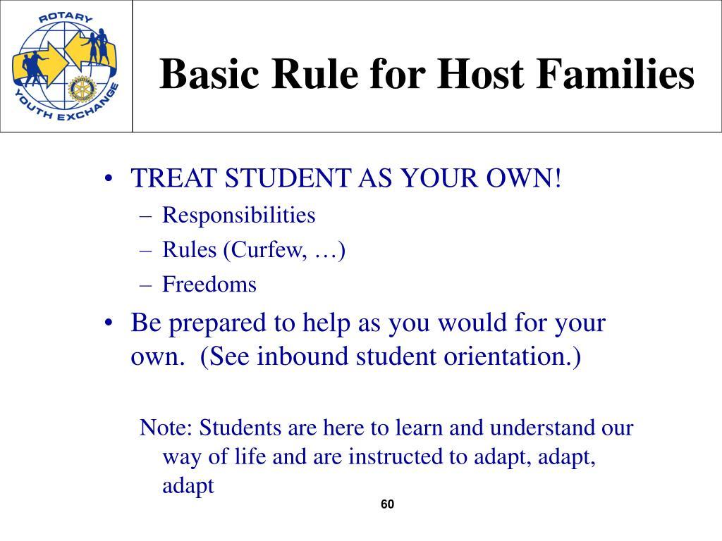 Basic Rule for Host Families