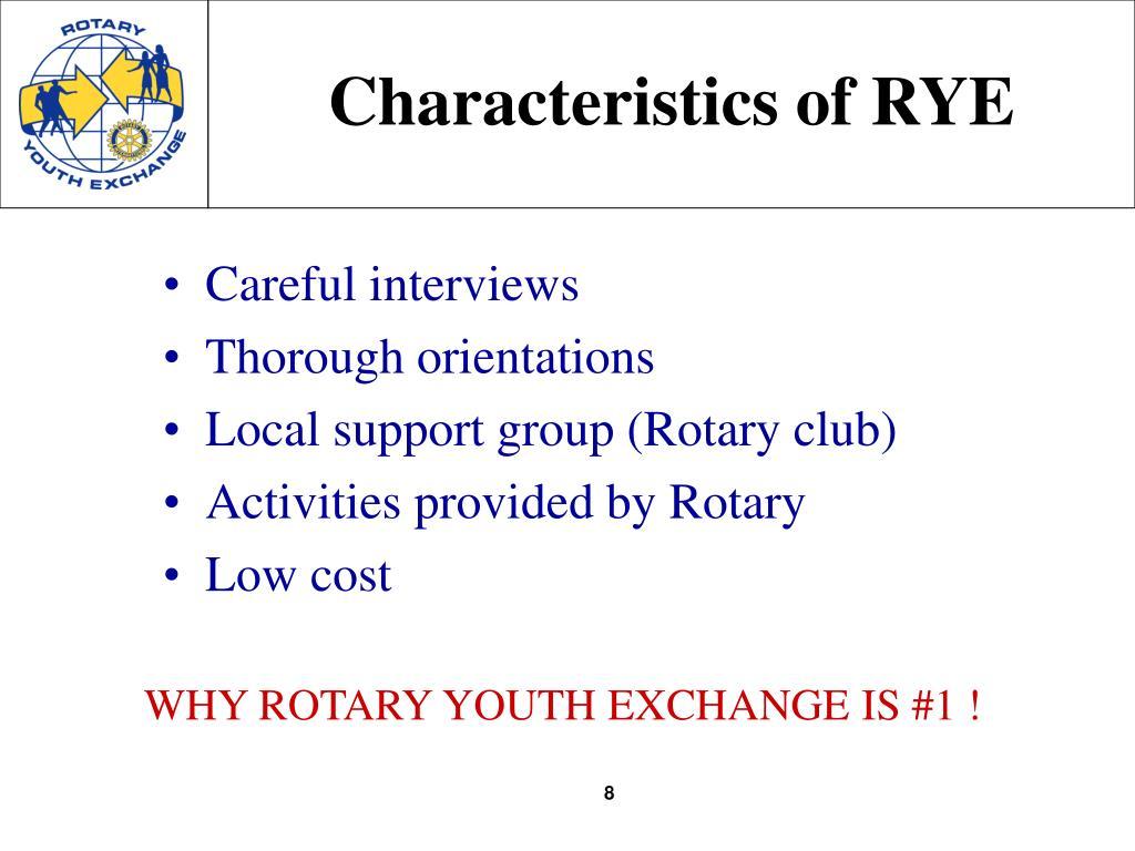 Characteristics of RYE