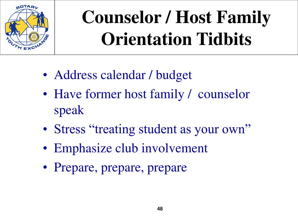 Counselor / Host Family Orientation Tidbits