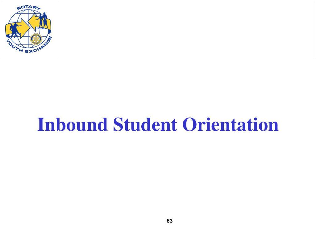 Inbound Student Orientation