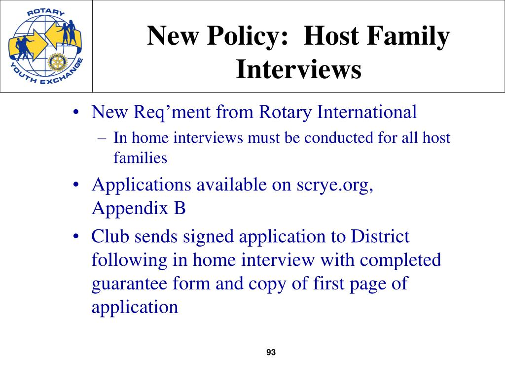 New Policy:  Host Family Interviews