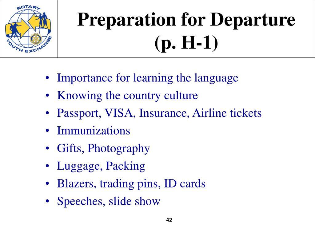 Preparation for Departure