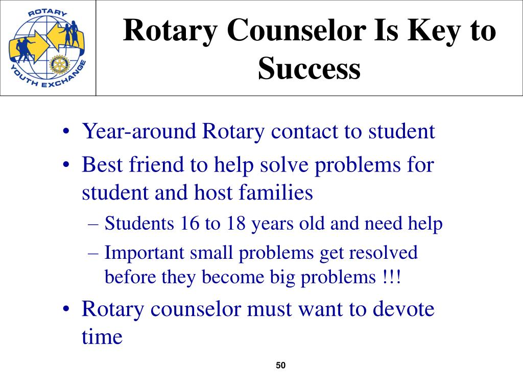 Rotary Counselor Is Key to Success