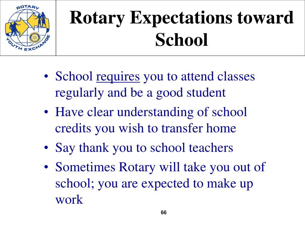 Rotary Expectations toward School