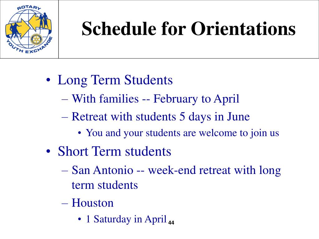 Schedule for Orientations