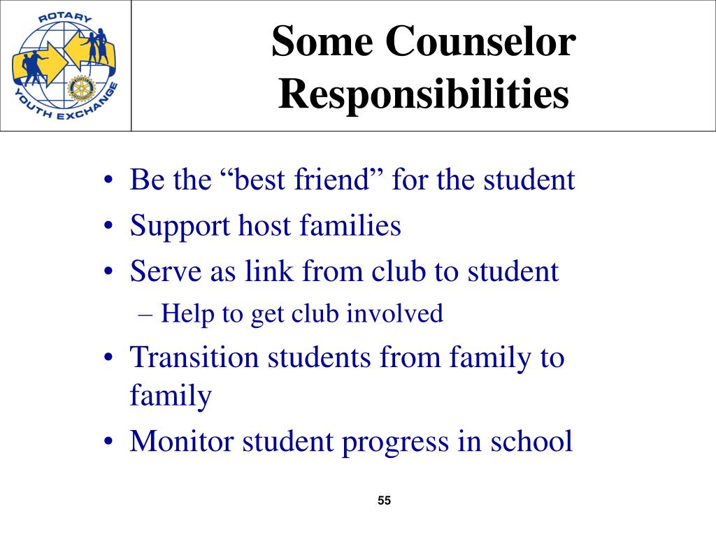 Some Counselor Responsibilities