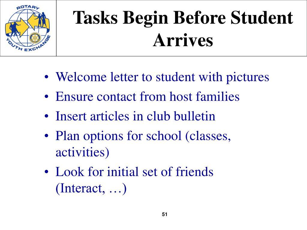 Tasks Begin Before Student Arrives