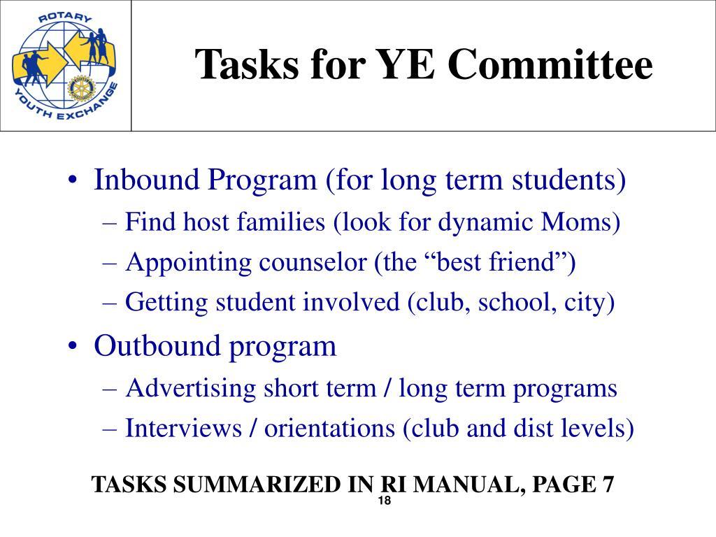 Tasks for YE Committee