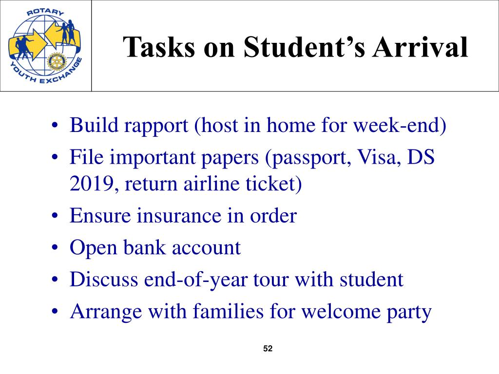 Tasks on Student's Arrival