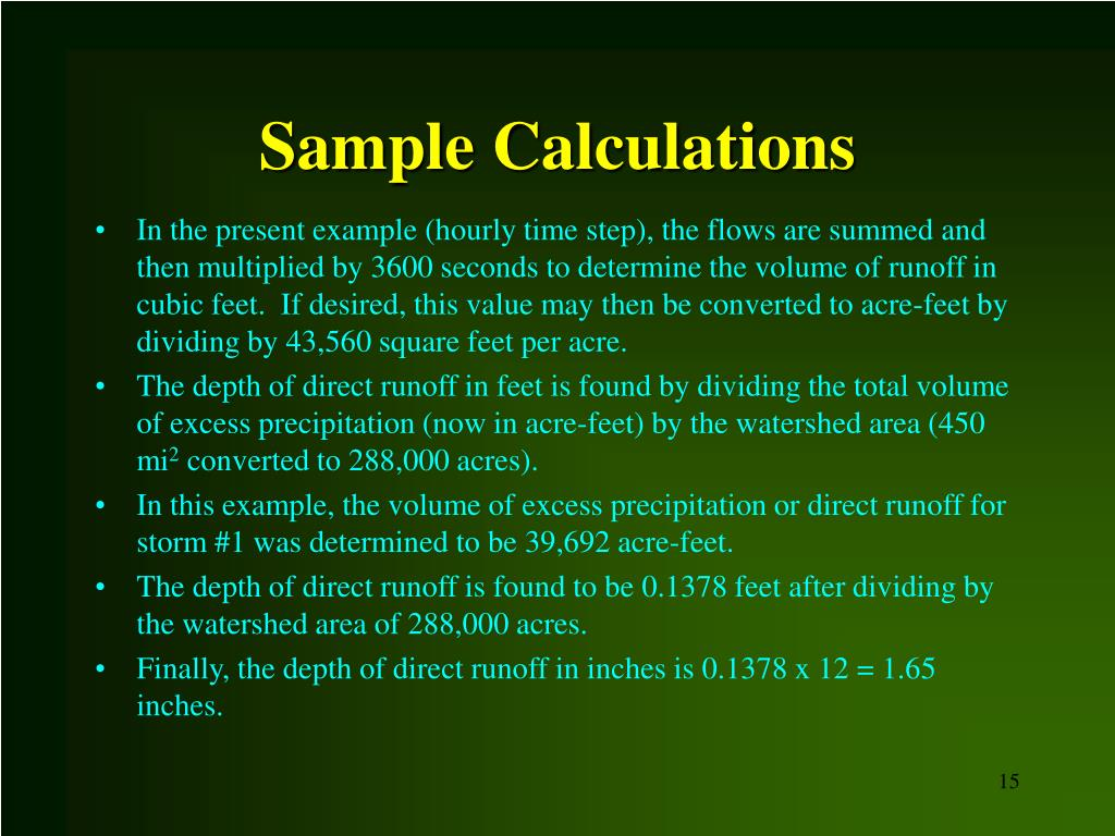 Sample Calculations