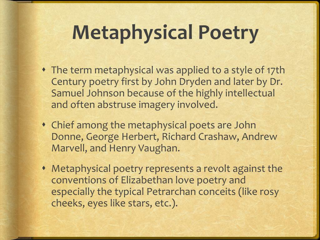 "an analysis of metaphysical poetry The metaphysical poets are known  andrew marvell, now considered one of the greatest  poetry series"" enotescom, 2011."