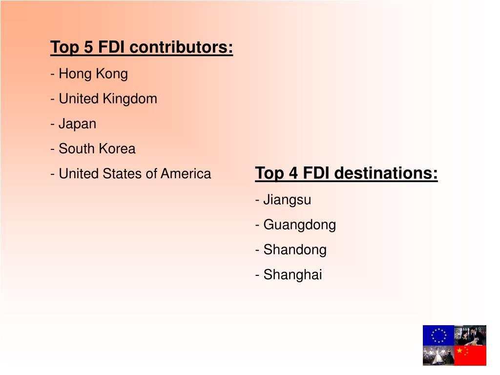 Top 5 FDI contributors: