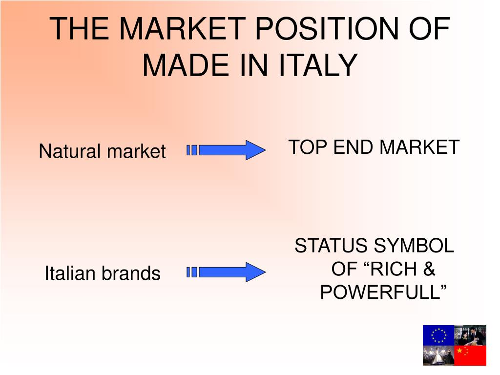 THE MARKET POSITION OF      MADE IN ITALY