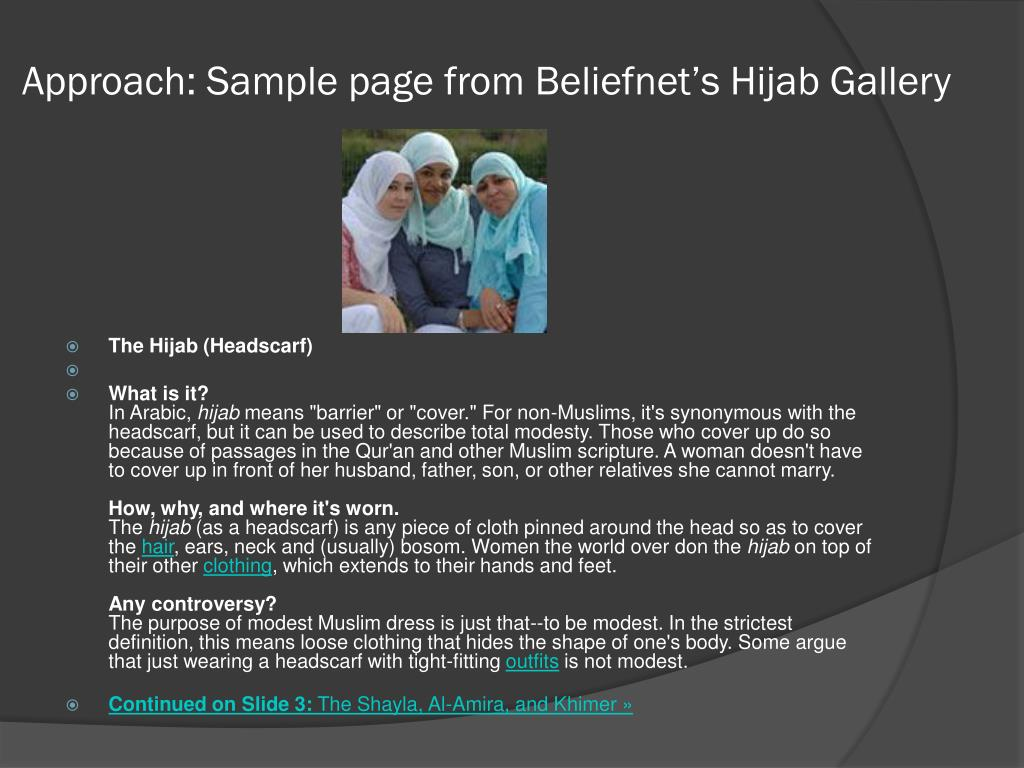 Approach: Sample page from Beliefnet's Hijab Gallery