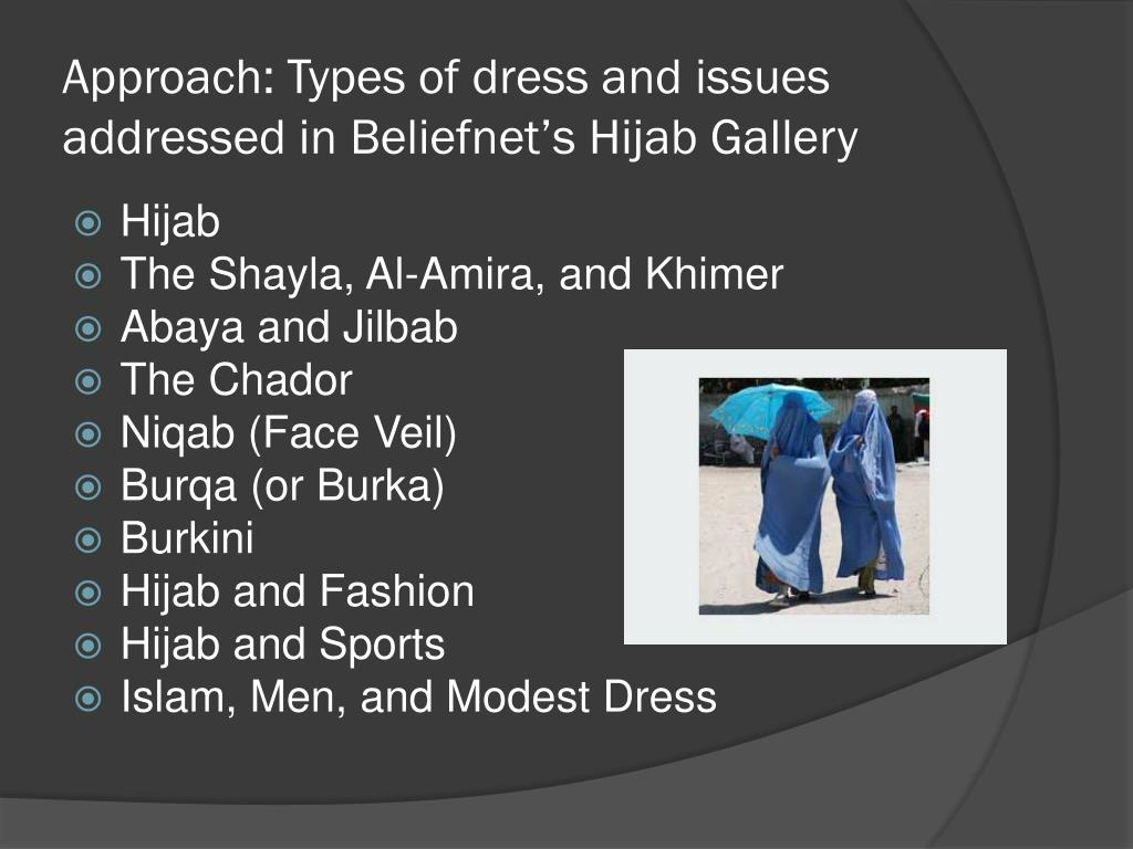Approach: Types of dress and issues addressed in Beliefnet's Hijab Gallery