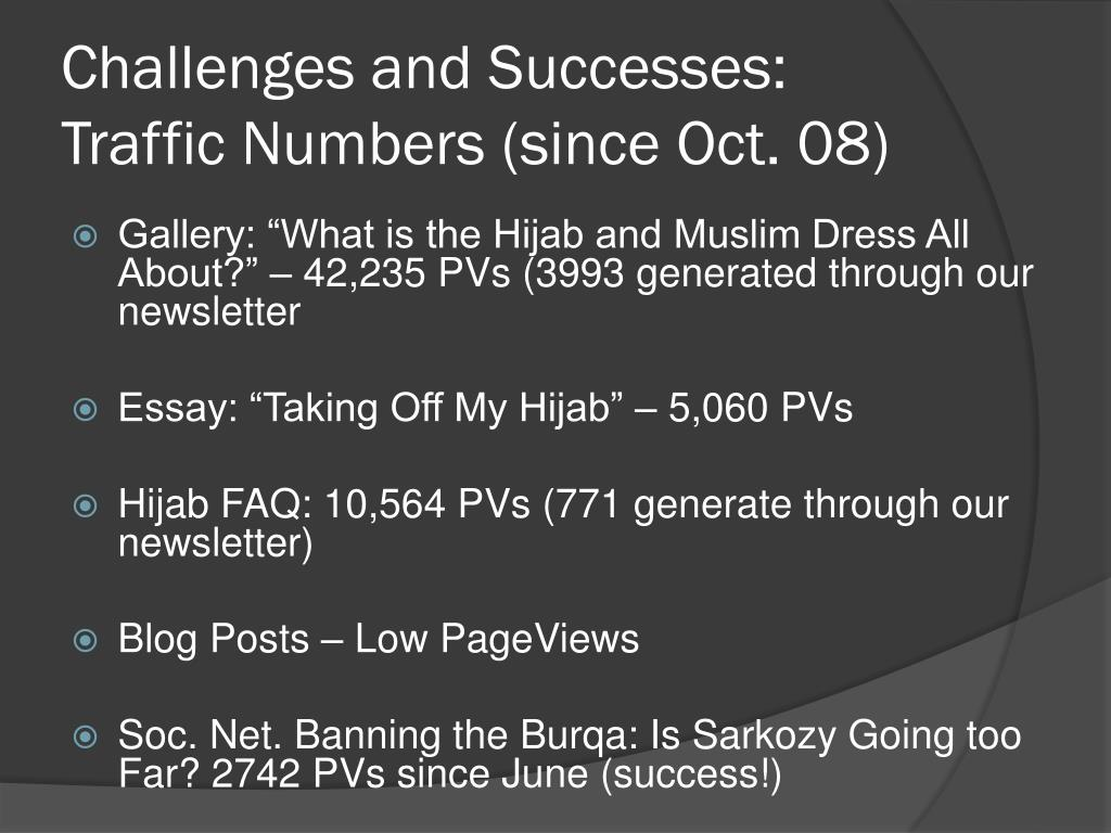 Challenges and Successes: Traffic Numbers (since Oct. 08)