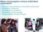 mass consumption versus individual expression