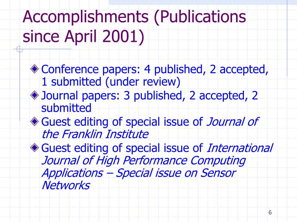 Accomplishments (Publications since April 2001)