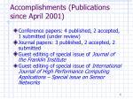accomplishments publications since april 2001
