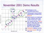november 2001 demo results
