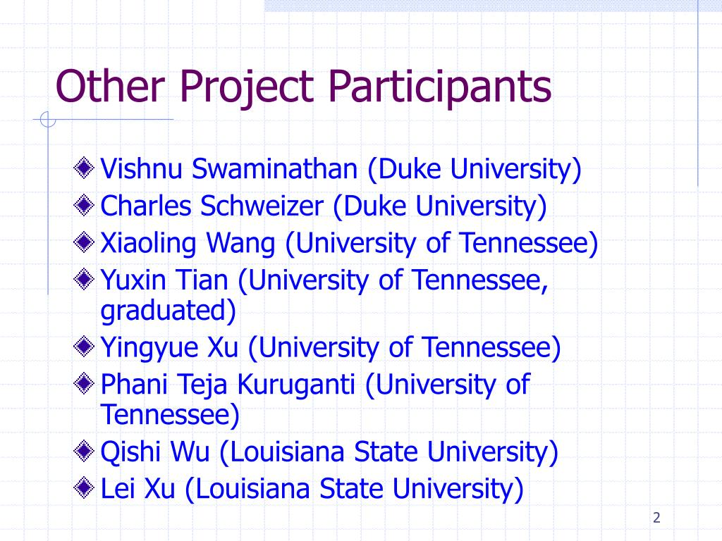 Other Project Participants