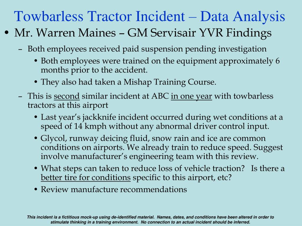 Towbarless Tractor Incident – Data Analysis