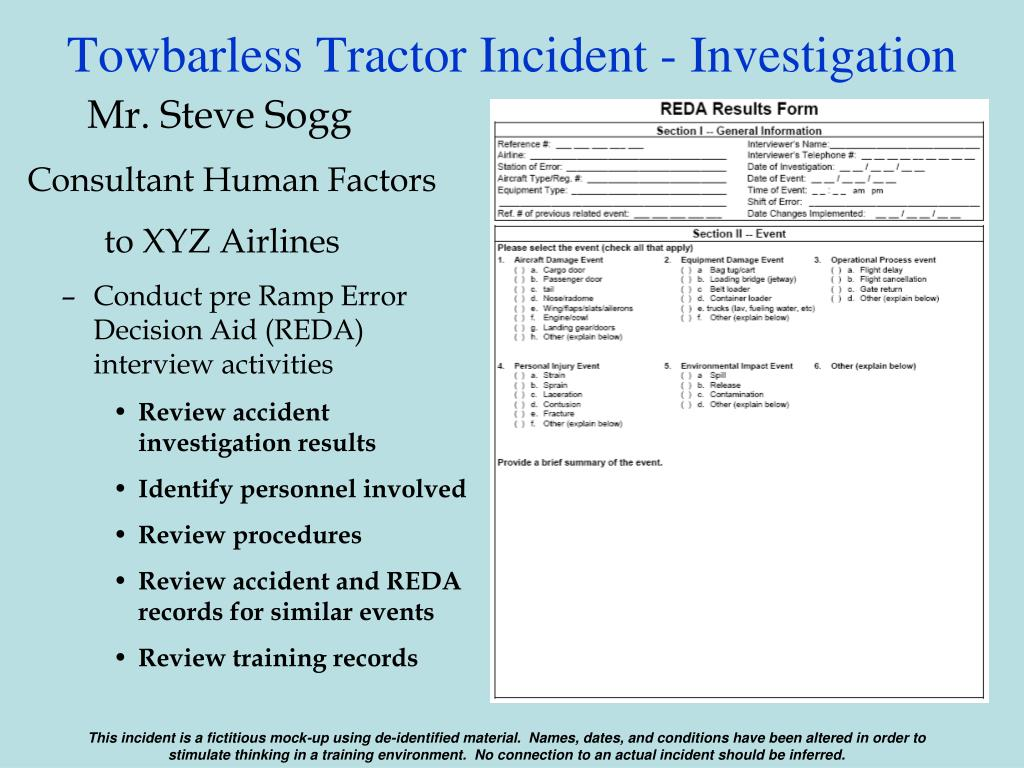 Towbarless Tractor Incident - Investigation