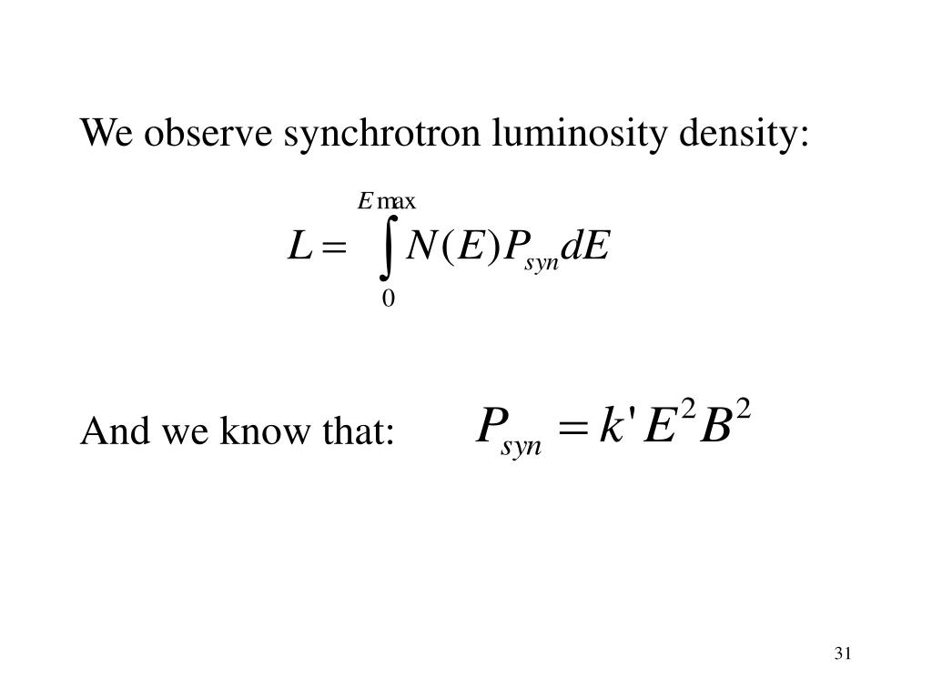 We observe synchrotron luminosity density: