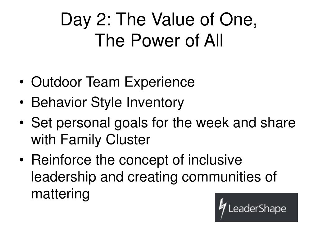 Day 2: The Value of One,