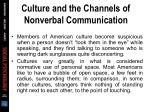 culture and the channels of nonverbal communication16