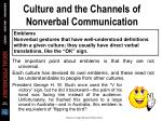 culture and the channels of nonverbal communication17