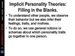 implicit personality theories filling in the blanks