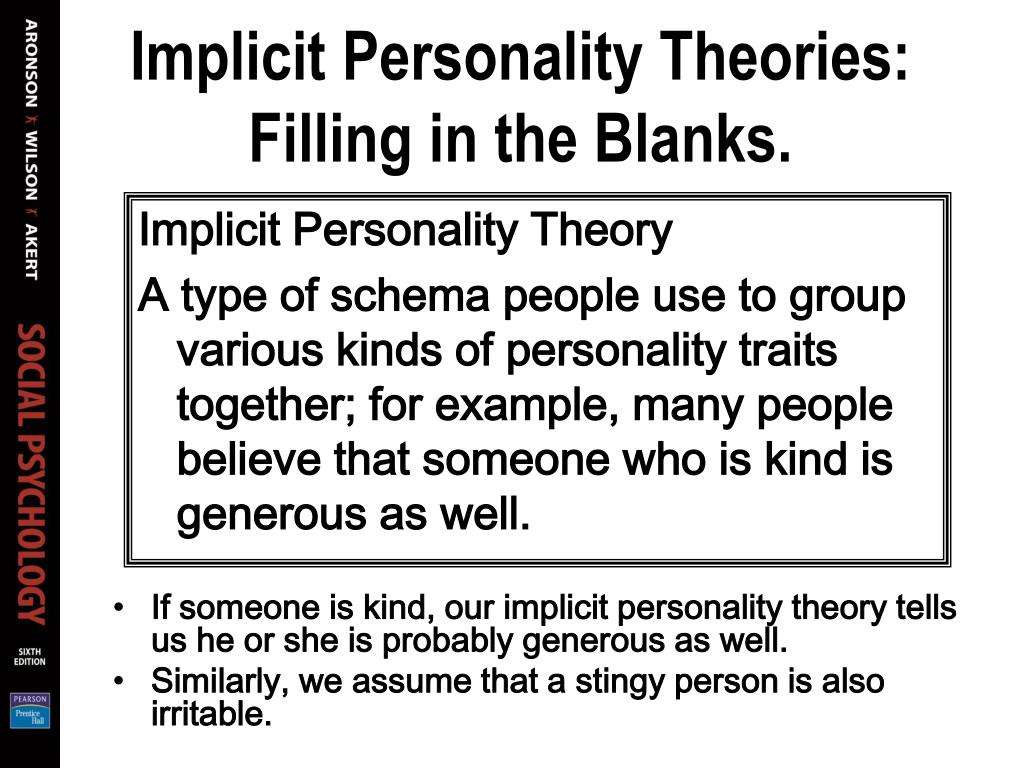 Implicit Personality Theories: Filling in the Blanks.