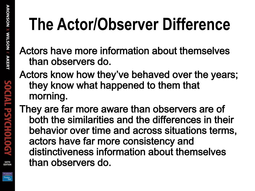 The Actor/Observer Difference
