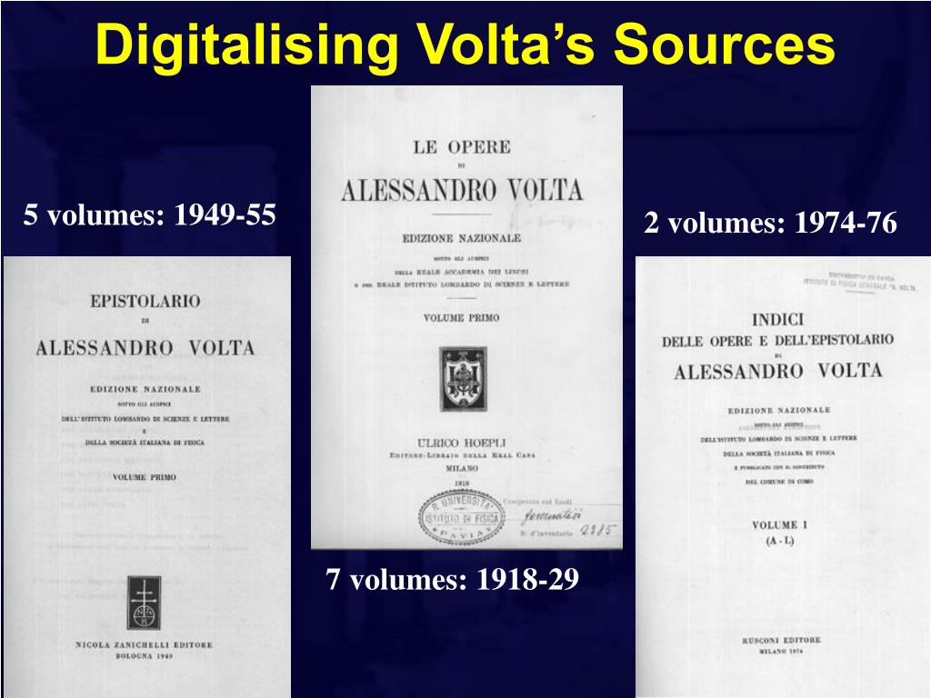 Digitalising Volta's Sources