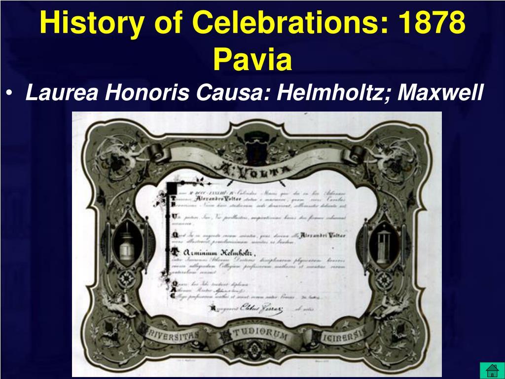History of Celebrations: 1878 Pavia