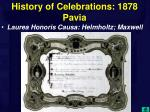 history of celebrations 1878 pavia