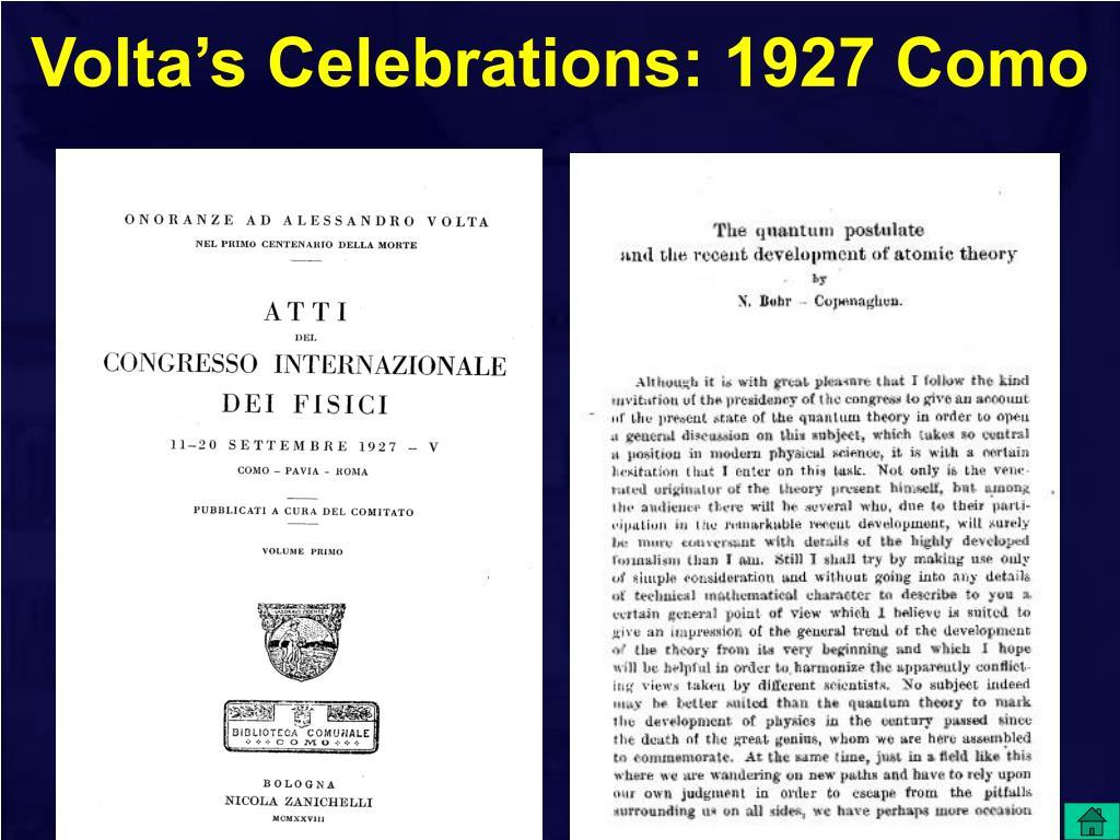 Volta's Celebrations: 1927 Como