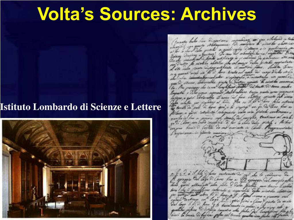 Volta's Sources: Archives