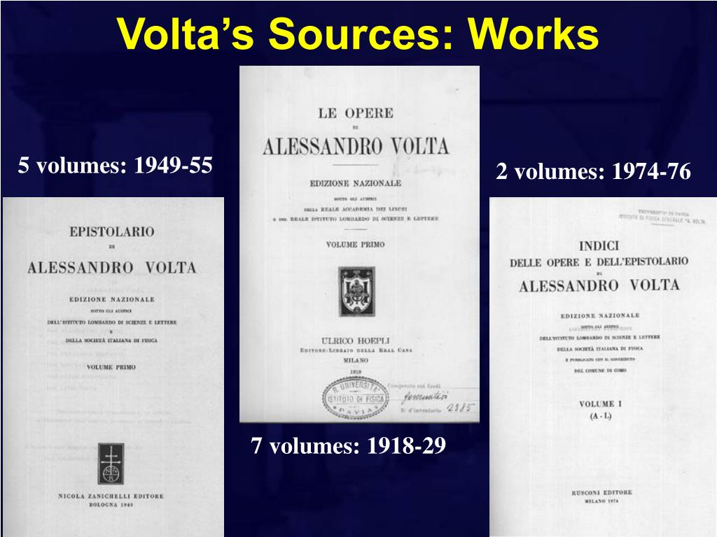 Volta's Sources: Works