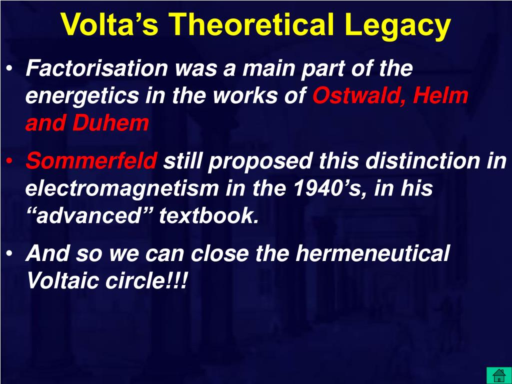 Volta's Theoretical Legacy