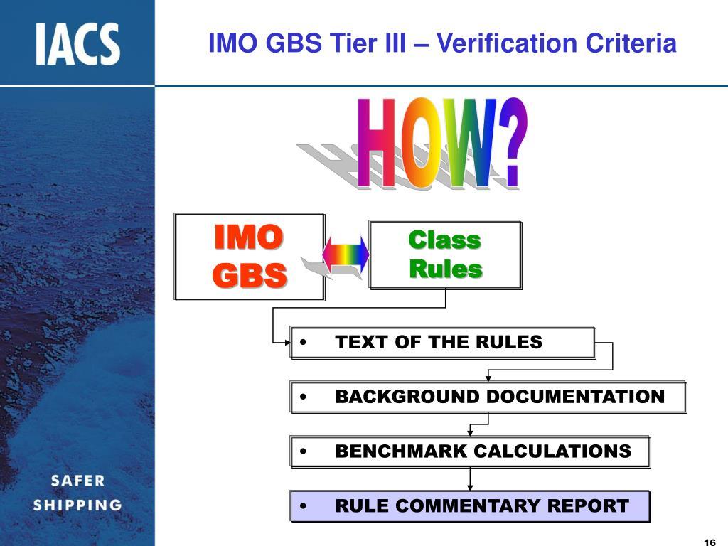 IMO GBS Tier III – Verification Criteria