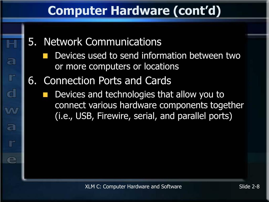 Computer Hardware (cont'd)