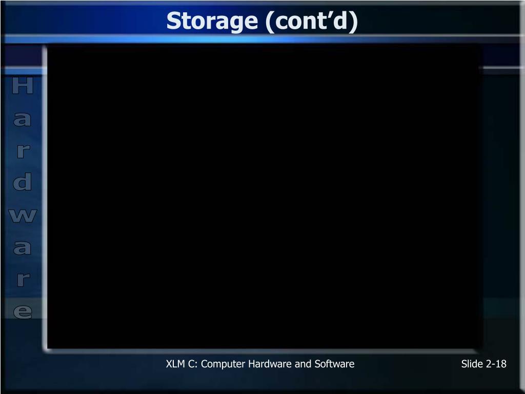Storage (cont'd)