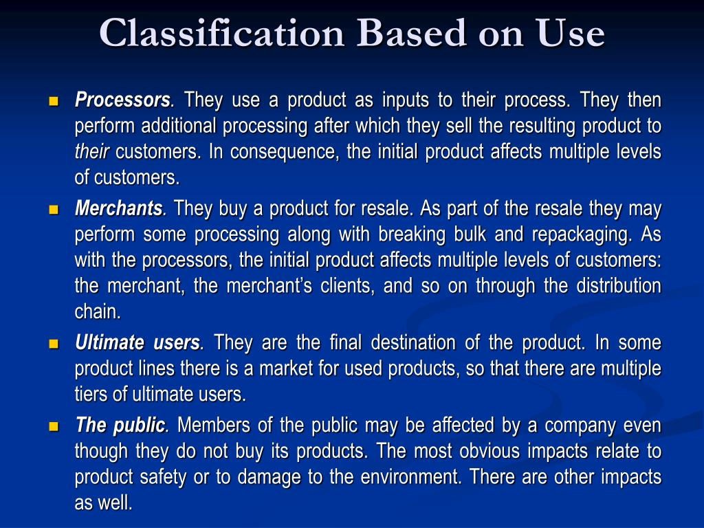 Classification Based on Use