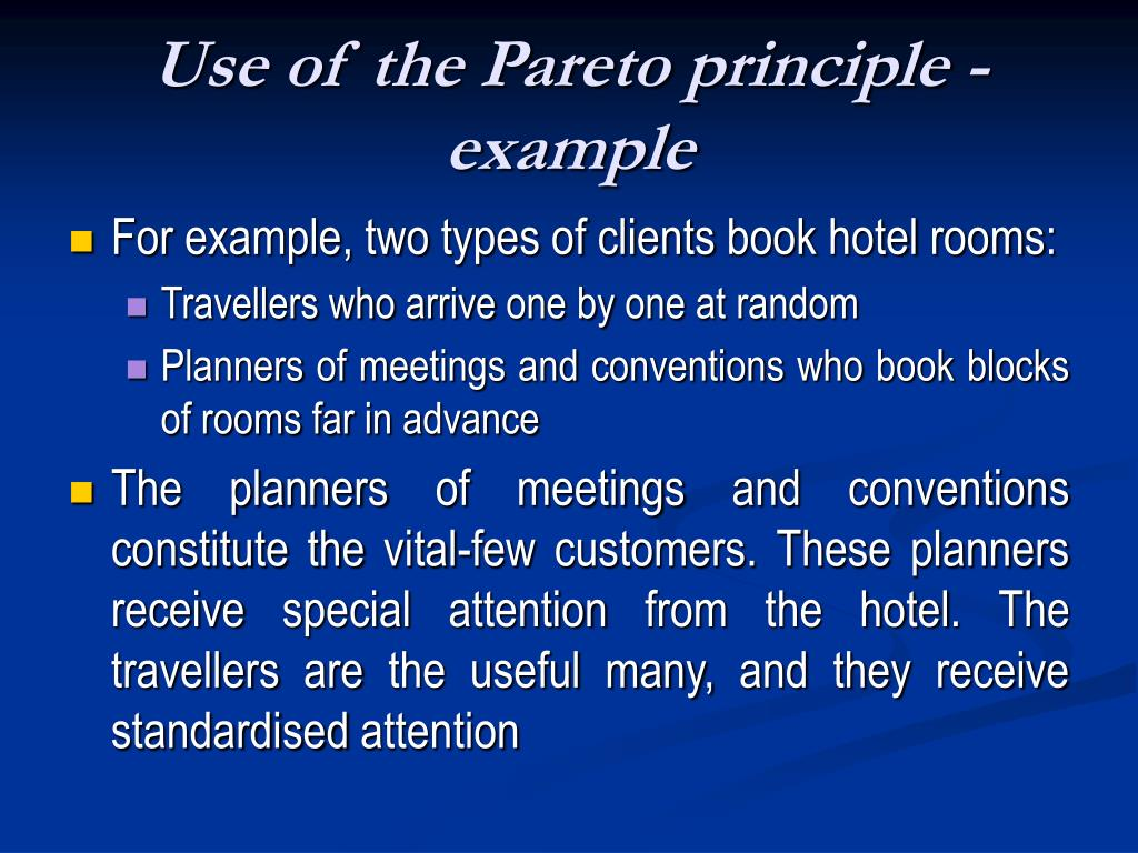 Use of the Pareto principle - example