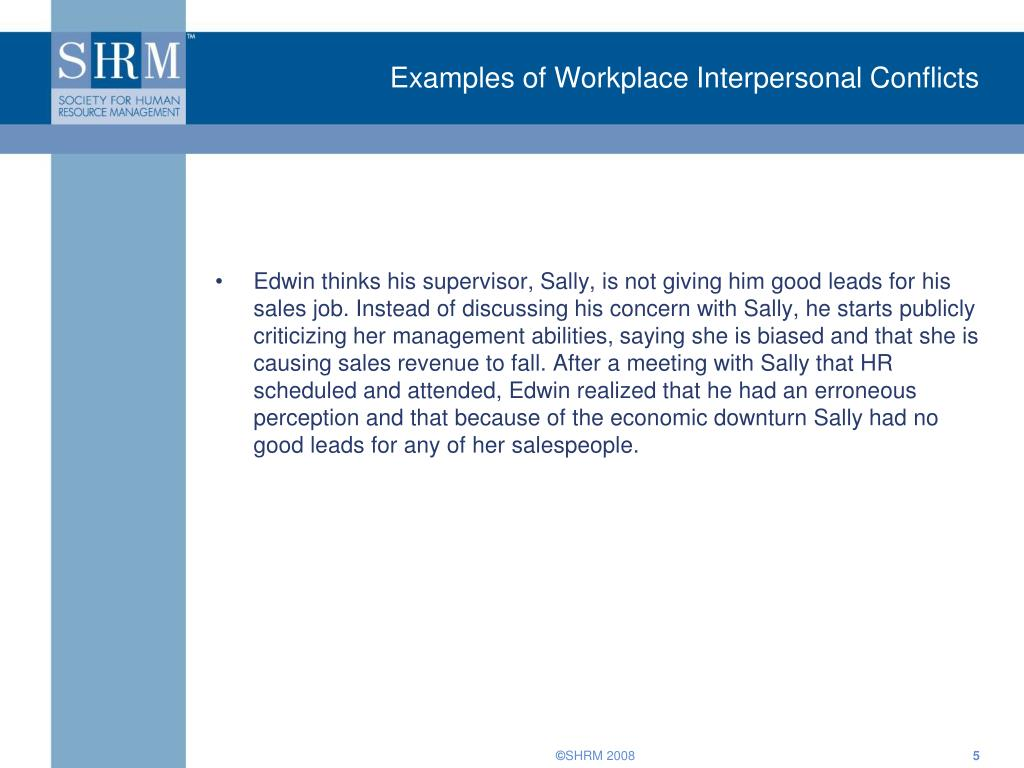 Examples of Workplace Interpersonal Conflicts