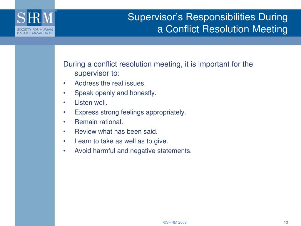 Supervisor's Responsibilities During